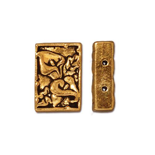 Calla 2 Hole Link, Antiqued Gold Plate, 20 per Pack