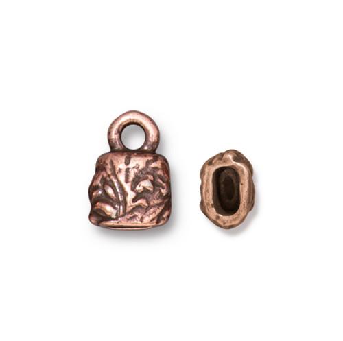 Jardin 4x2mm Crimp End Cap, Antiqued Copper Plate, 20 per Pack