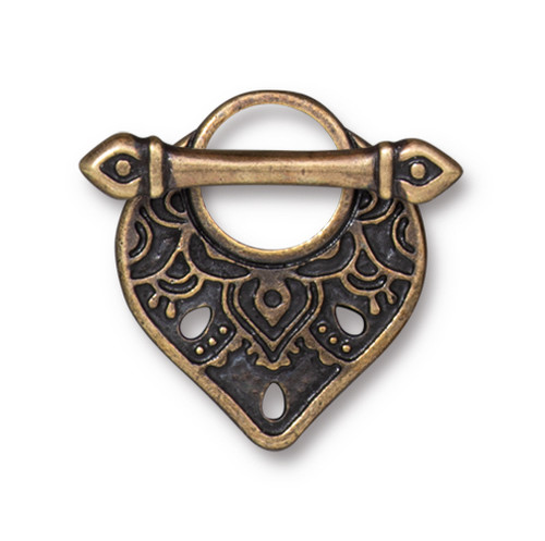 Temple Clasp Set, Oxidized Brass Plate, 10 per Pack