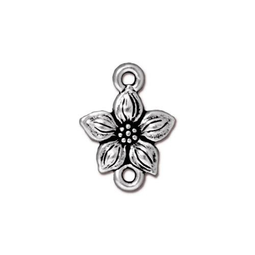 Star Jasmine Link, Antiqued Silver Plate, 20 per Pack