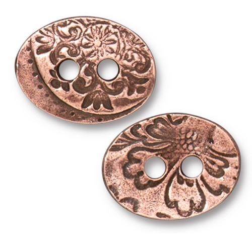 Jardin 2 Hole Button, Antiqued Copper Plate, 20 per Pack
