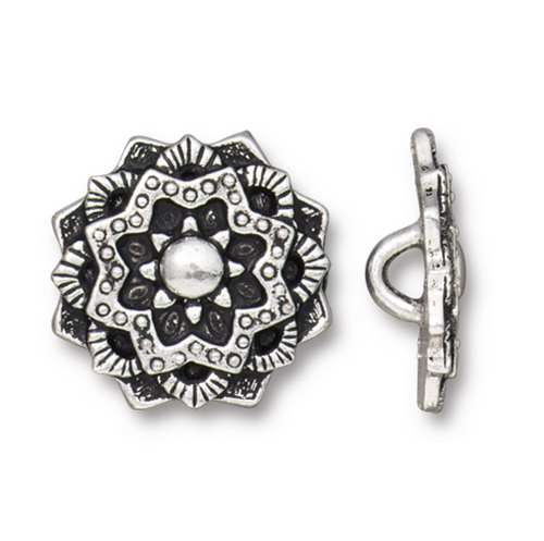Mandala Button, Antiqued Silver Plate, 20 per Pack