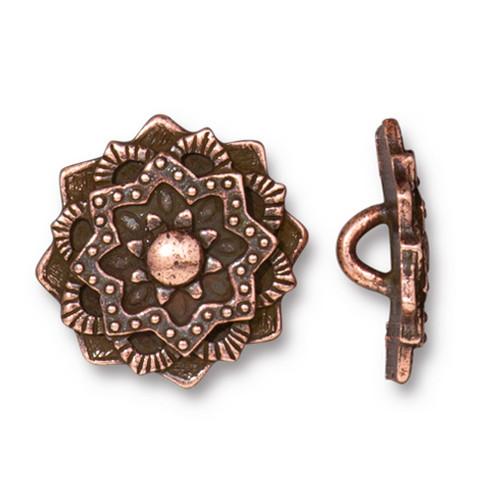 Mandala Button, Antiqued Copper Plate, 20 per Pack