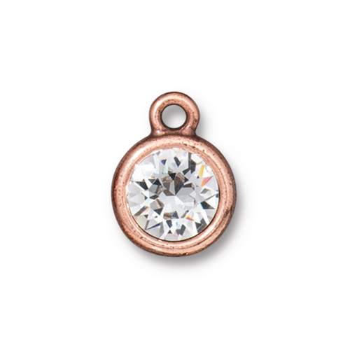 Plain Chaton Drop with SS39 Swarovski® Crystal, Antiqued Copper Plate, 10 per Pack
