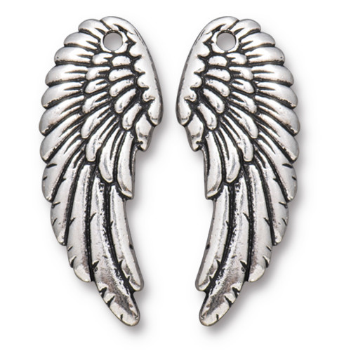 Angel Wing Set, Antiqued Silver Plate, 10 per Pack