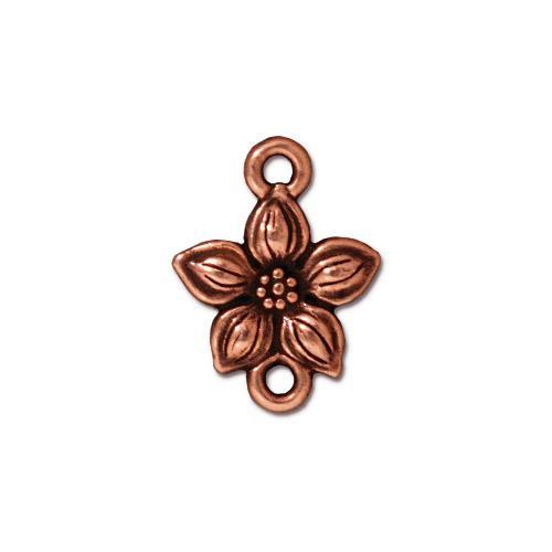 Star Jasmine Link, Antiqued Copper Plate, 20 per Pack