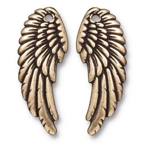 Angel Wing Set, Oxidized Brass Plate, 10 per Pack