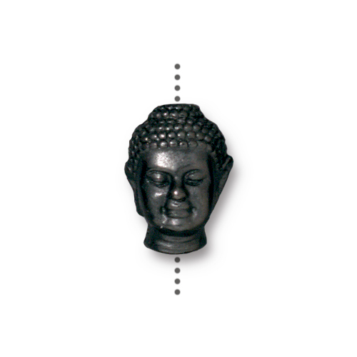 Buddha Large Hole Bead, Black Plate, 20 per Pack
