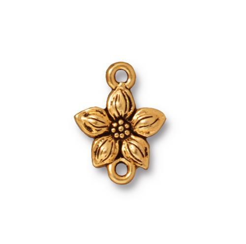 Star Jasmine Link, Antiqued Gold Plate, 20 per Pack