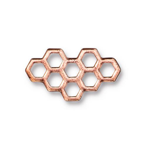Honeycomb Link, Antiqued Copper Plate, 20 per Pack