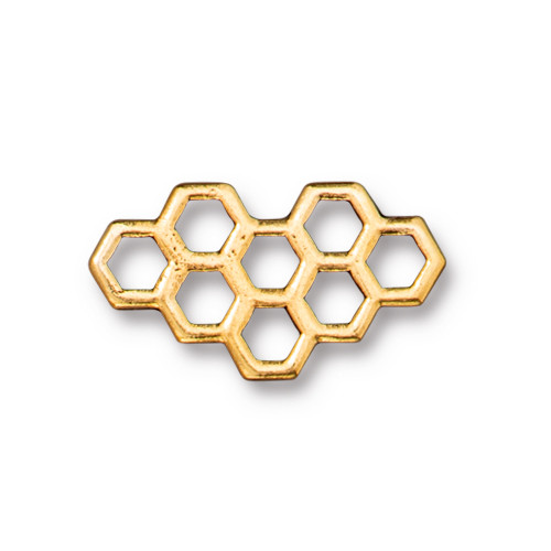 Honeycomb Link, Antiqued Gold Plate, 20 per Pack