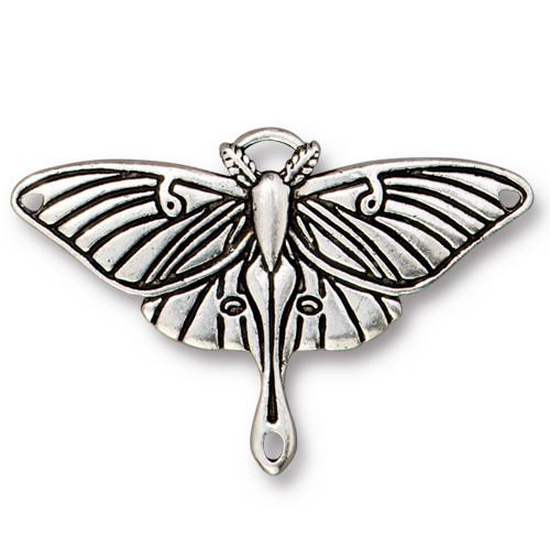 Luna Moth Pendant Link, Antiqued Silver Plate, 10 per Pack