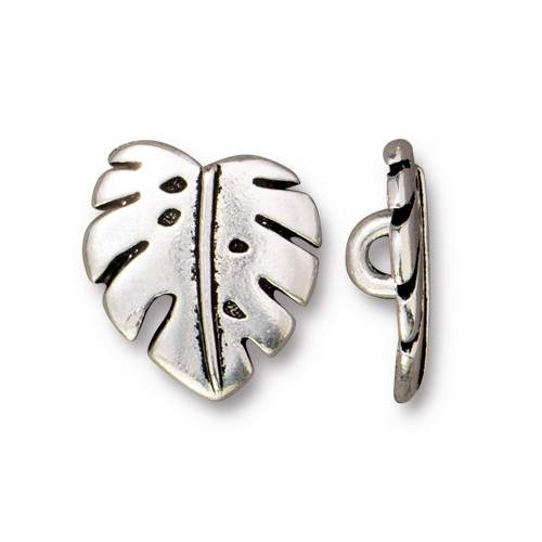 Monstera Button, Antiqued Silver Plate, 20 per Pack