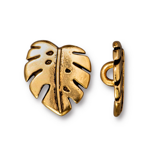 Monstera Button, Antiqued Gold Plate, 20 per Pack