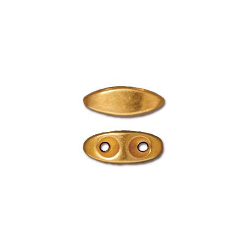 Almond 2 Hole Bar, Gold Plate, 20 per Pack