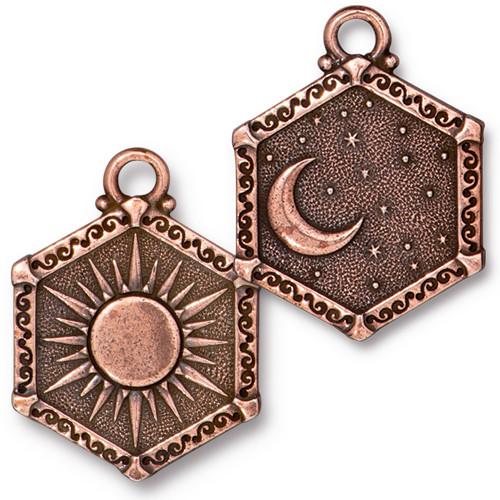 Sun & Moon Pendant, Antiqued Copper Plate, 10 per Pack