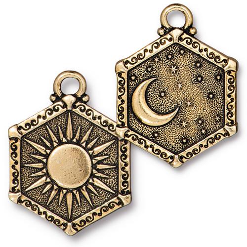 Sun & Moon Pendant, Antiqued Gold Plate, 10 per Pack