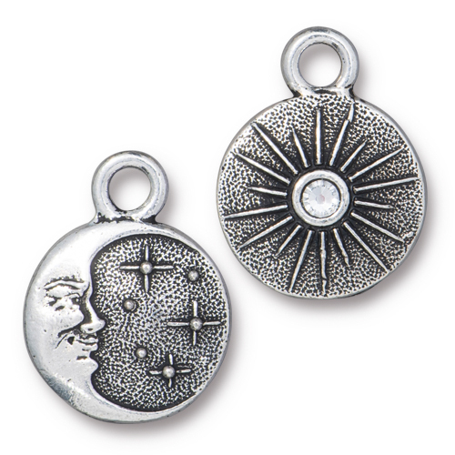 Starry Night Charm with SS9 Crystal, Antiqued Silver Plate, 6 per Pack
