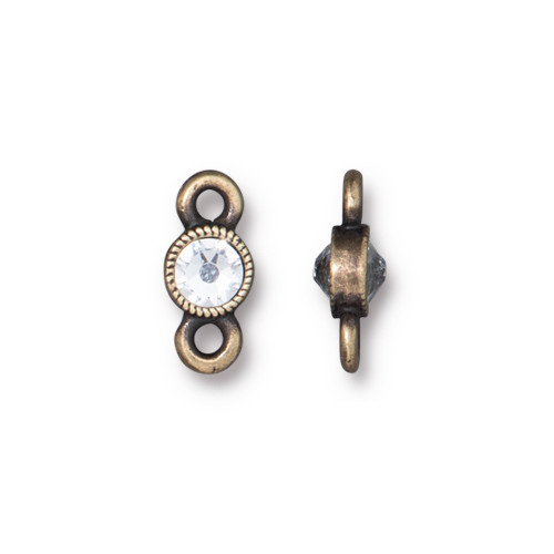Crystal Brilliance Link with Crystal, Oxidized Brass Plate, 6 per Pack