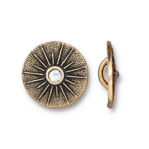 Starburst Button with SS9 Crystal, Antiqued Gold Plate, 5 per Pack