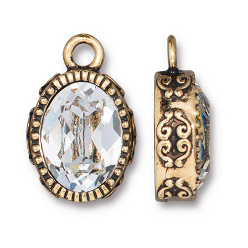 Celestial Brilliance Pendant with Crystal, Antiqued Gold Plate, 6 per Pack