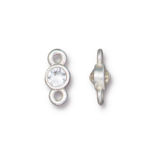 Crystal Brilliance Link with Crystal, Silver Plate, 6 per Pack