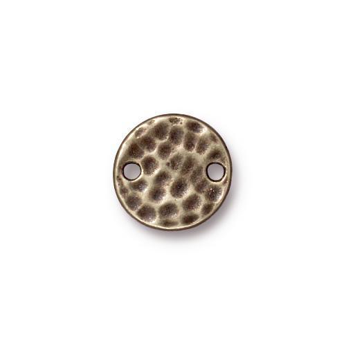 Hammertone Round Link, Oxidized Brass Plate, 20 per Pack