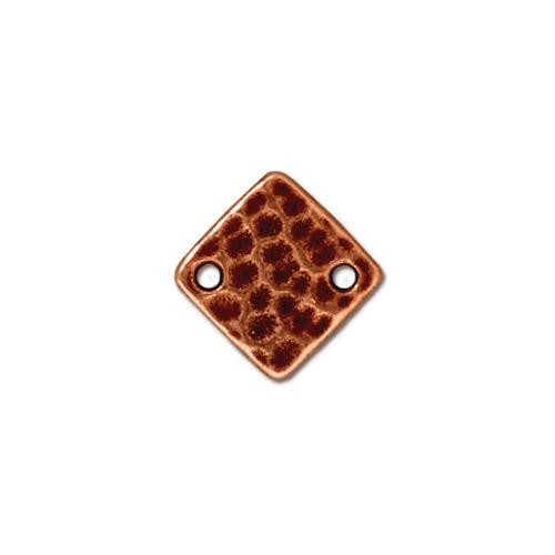 Hammertone Diamond Link, Antiqued Copper Plate, 20 per Pack