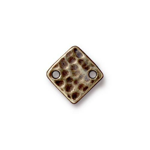 Hammertone Diamond Link, Oxidized Brass Plate, 20 per Pack