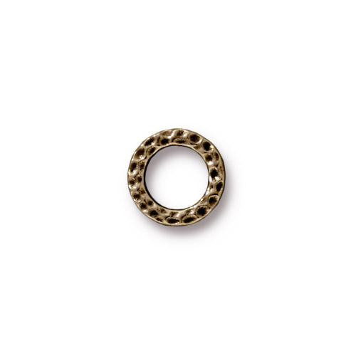 Small Hammertone Ring, Oxidized Brass Plate, 20 per Pack