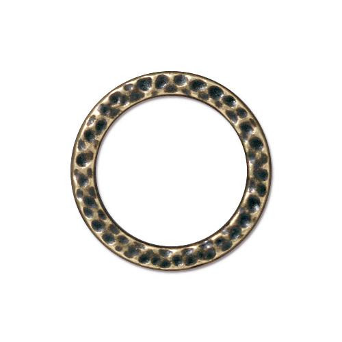 Large Hammertone Ring, Oxidized Brass Plate, 20 per Pack