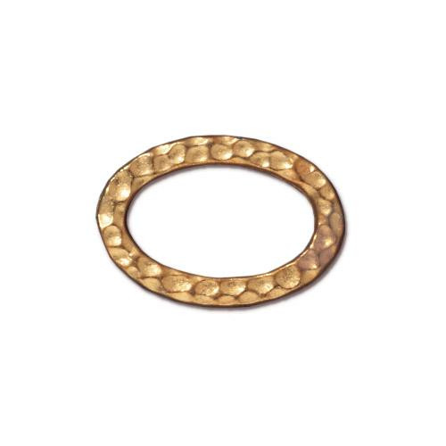 Hammertone Oval Ring, Gold Plate, 20 per Pack
