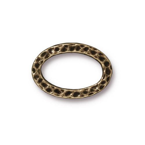 Hammertone Oval Ring, Oxidized Brass Plate, 20 per Pack