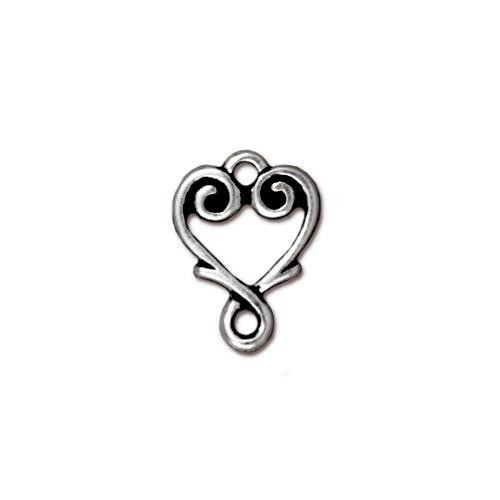 Vine Heart Link, Antiqued Silver Plate, 20 per Pack
