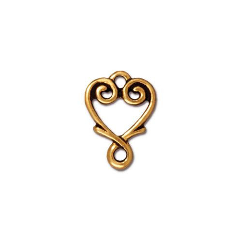Vine Heart Link, Antiqued Gold Plate, 20 per Pack