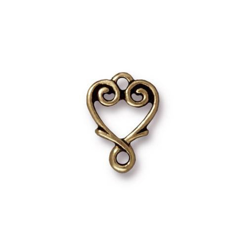 Vine Heart Link, Oxidized Brass Plate, 20 per Pack