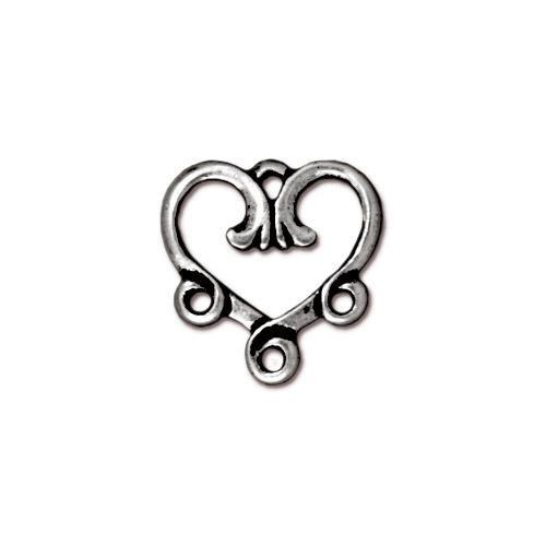 Vine Heart 3-1 Link, Antiqued Silver Plate, 20 per Pack