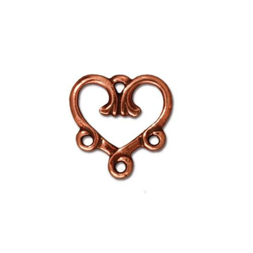 Vine Heart 3-1 Link, Antiqued Copper Plate, 20 per Pack