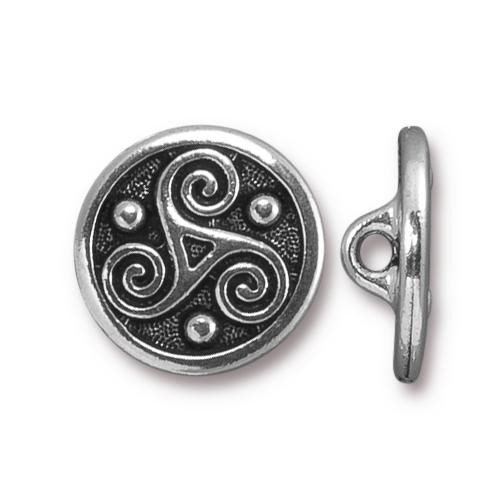 Triskele Button, Antiqued Silver Plate, 20 per Pack