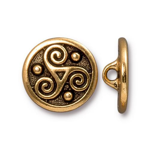 Triskele Button, Antiqued Gold Plate, 20 per Pack