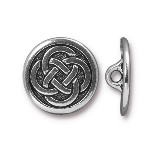 Celtic Knot Button, Antiqued Silver Plate, 20 per Pack