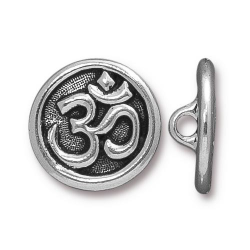 Om Button, Antiqued Silver Plate, 20 per Pack
