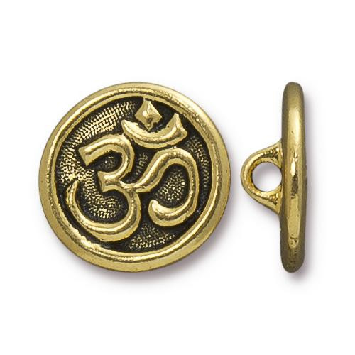 Om Button, Antiqued Gold Plate, 20 per Pack