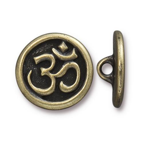 Om Button, Oxidized Brass Plate, 20 per Pack