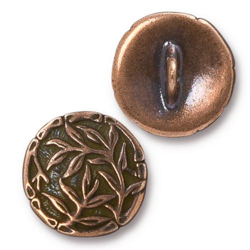 Bamboo Button, Antiqued Copper Plate, 20 per Pack