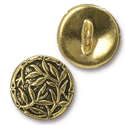 Bamboo Button, Antiqued Gold Plate, 20 per Pack