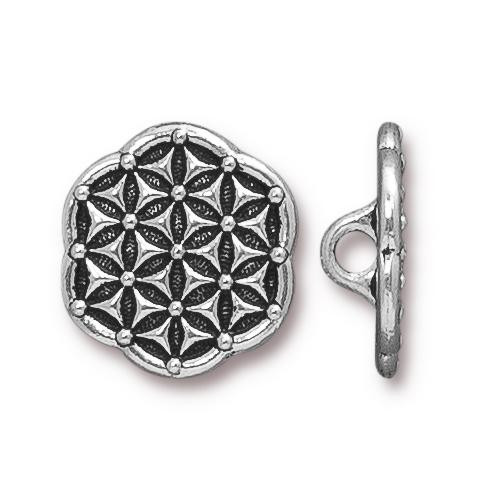 Flower of Life Button, Antiqued Silver Plate, 20 per Pack