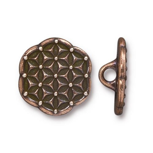 Flower of Life Button, Antiqued Copper Plate, 20 per Pack