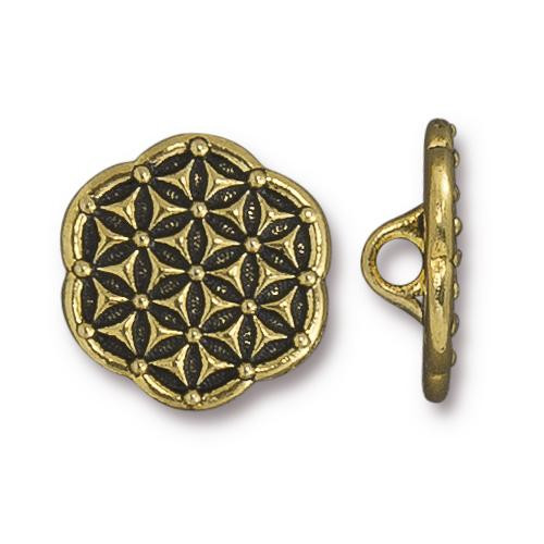 Flower of Life Button, Antiqued Gold Plate, 20 per Pack