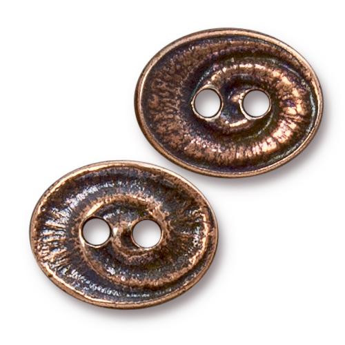 Swirl Button, Antiqued Copper Plate, 20 per Pack